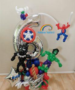 Superhero Birthday Balloon Centrepieces by Rainbow Twisters Glasgow Balloon Company