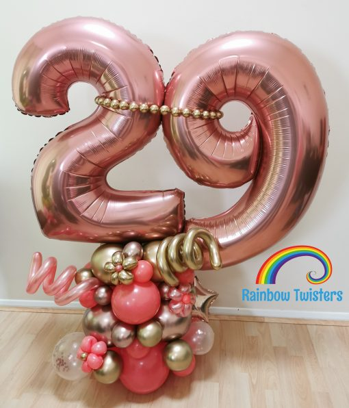 Deluxe Number Balloon Centrepiece Rainbow Twisters Glasgow Balloon Company