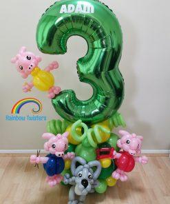 pig Themed Birthday Balloons Rainbow Twisters Glasgow Balloon Company