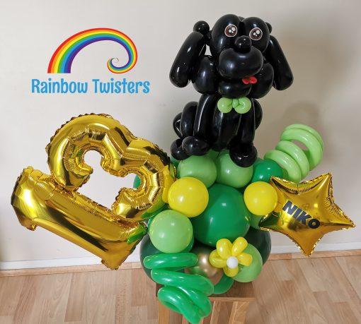 Dog Themed Birthday Balloon Centrepieces by Rainbow Twisters Glasgow Balloon Company