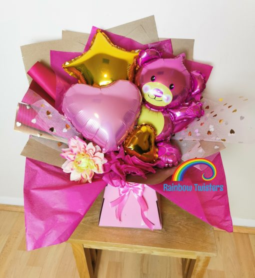 Teddy Balloon Bouquet Rainbow Twisters Balloon Gifts and Delivery
